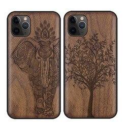 Rzeźbione drewno orzechowe etui na iPhone 11 Pro Max odporne na wstrząsy etui etui plecki z tpu na iPhone 11 X XR XS Max 8 7 Plus etui z drewna