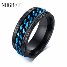 NHGBFT Punk Style Tire Spinner Chain Rings For Mens Stainless Steel Black Color Biker Ring Male jewelry vintage silver color stainless steel link motorcycle biker chain boy rings punk rock mens biker jewelry birthday us size 7 12