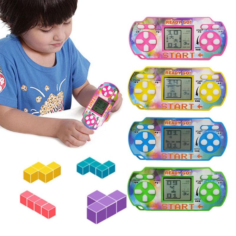 Classic Tetris Hand Held LCD Electronic Game Toys Fun Brick Game Riddle Handheld Game Console Toy Gift  Random Color