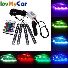 цена на 4X Car RGB Led Strip Light 5050 SMD Auto Remote Control Decorative Flexible LED Dome Atmosphere Lamp Kit Fog Lamp DC 12V