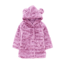 Kids Girls Faux Fur Coats Autumn Winter Thick Jackets Girls Warm Hooded Outerwear Coat Child Clothes Baby Cute Mouse Ear Jacket