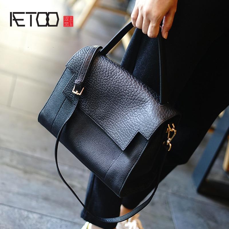 AETOO New Elephant Cowhide Vintage Female Bag, Simple Leather Handbag, Casual Commuter Shoulder Oblique Cross Bag