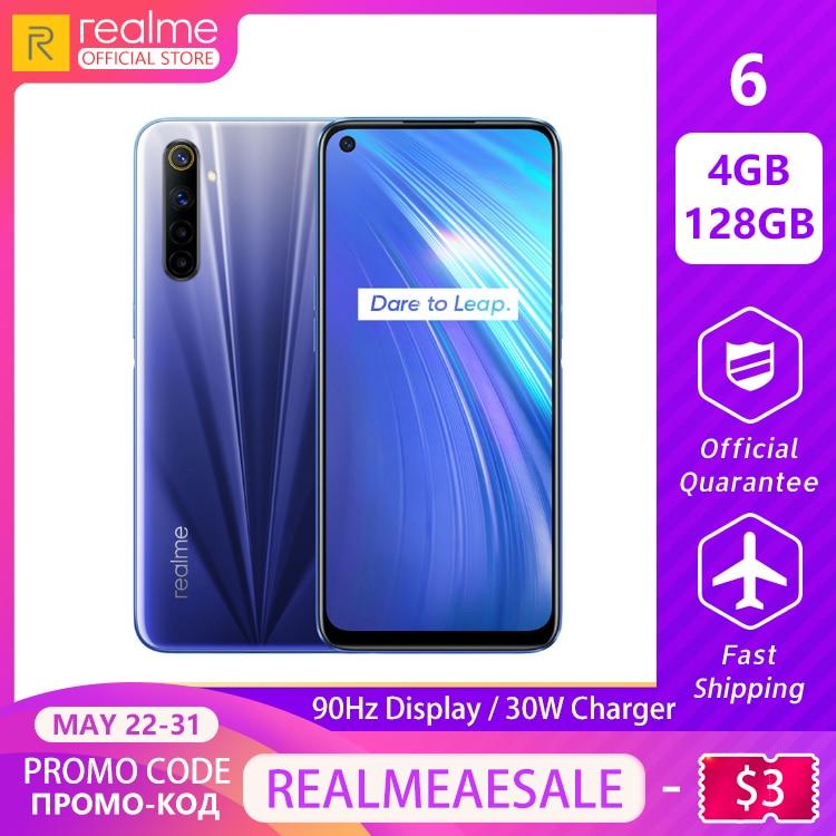 Realme 6 New Global Version 4GB RAM 128GB ROM Mobile Phone Helio G90T 30W Flash Charge 4300mAh Battery 64MP Quad Camera