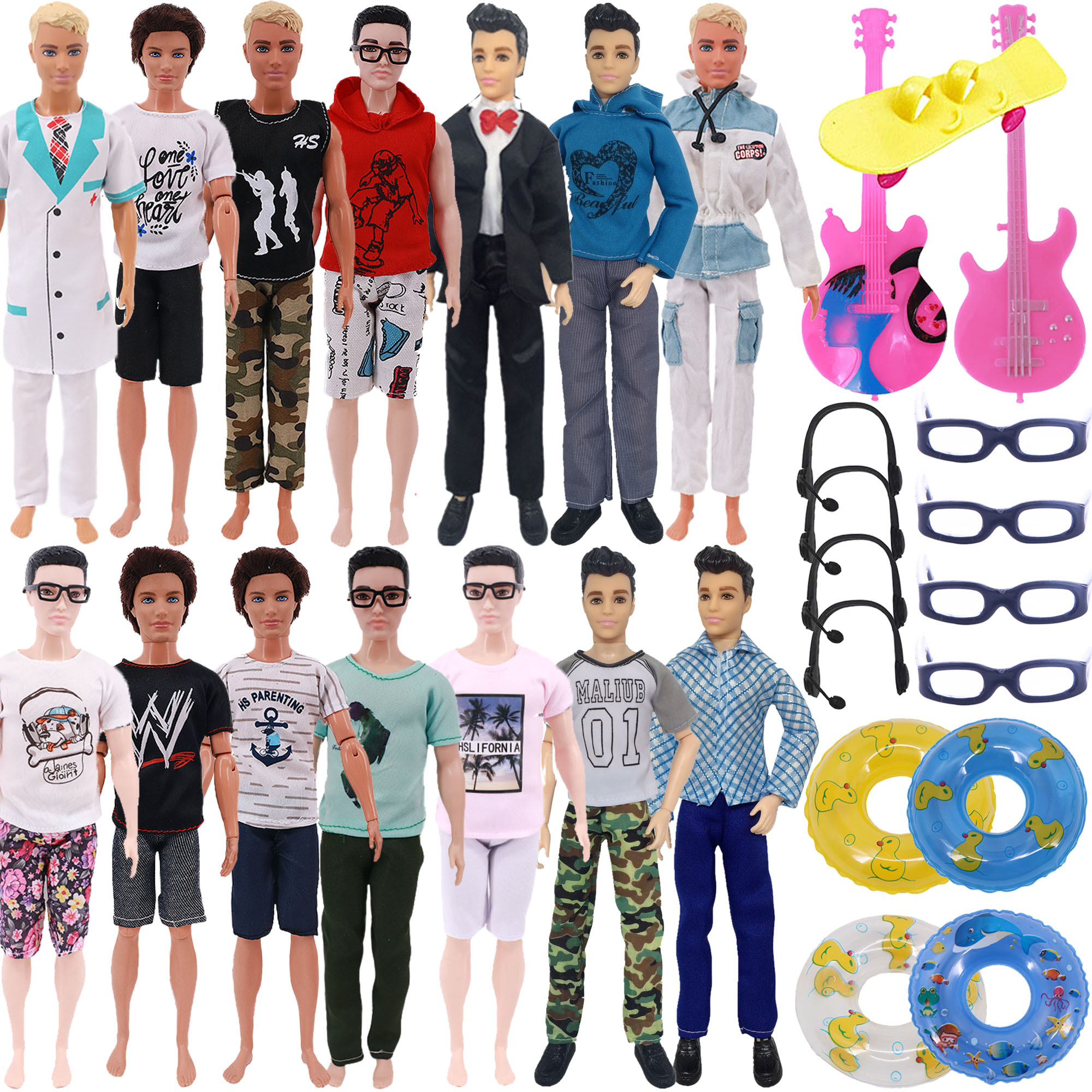 13Pcs/Set Ken Doll Clothes FreeShipping Glasses Shoes Hangers Guitar Skateboard Headsets Accessories For Barbies Girl`s Toy DIY