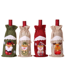 Christmas Creative Decoration Red Wine Bag Hemp Bottle Cloth Old Snowman Cover