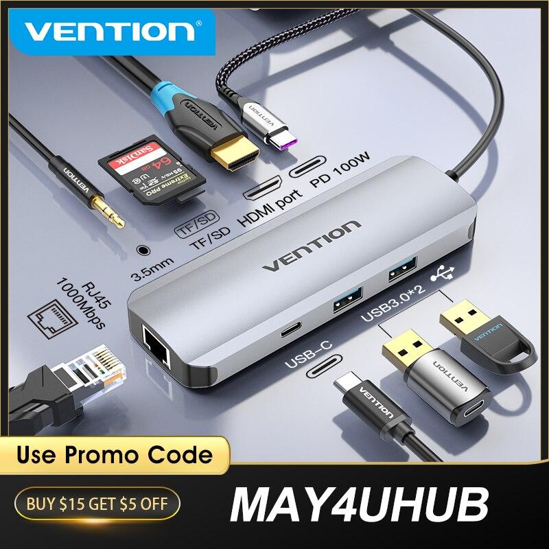 Vention USB C концентратор USB C к HDMI 4K VGA PD RJ45 3,5 мм USB 3,0 док-станция для MacBook Pro Аксессуары USB-C Тип C 3,1 разветвитель usb-хаб