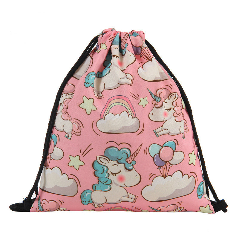 Fashion Drawstring Bag 3D Printing Unicorn Mochila Feminina Drawstring Backpack Women Daily Casual Girl's Knapsack