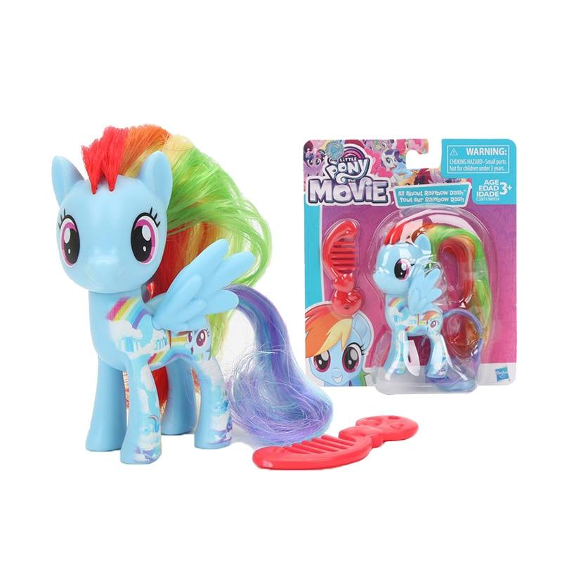 Meu pequeno pony figura com pente arco-íris pony amizade é arco-íris mágico traço crepúsculo faísca pvc modelo brinquedos