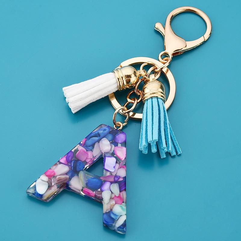 Новый модный простой акриловый брелок с 26 буквами цветной кисточкой