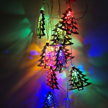 Hot Sale Creative Light String Pendants Ornaments LED Deer Christmas Tree Lights Wrought Iron Holiday Party Garden Decor
