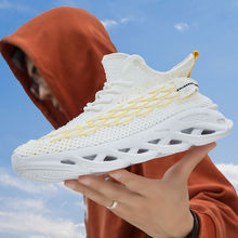Men Lightweight Blade Running Shoes Shockproof Lack Up Breathable Male Sneakers Height Increase Walking Gym Shoes Man