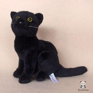 Реальные плюшевые игрушки черных кошек, мягкие и гладкие мягкие игрушки животных, подарок, украшение