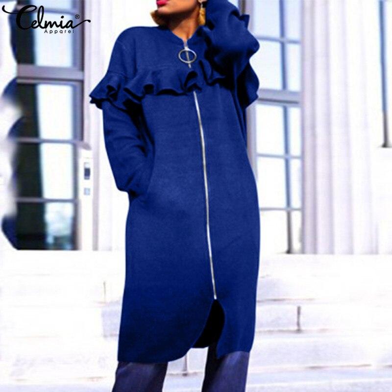 Women's Autumn Winter Long Jackets Celmia 2021 Fashion Long Sleeve Ruffles Zipper Coats Female Casual Loose Work Outerwear 5XL 7