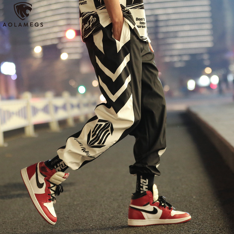 Aolamegs Pants Men Hit Color Cool Print Streetwear Hip Hop Casual Trousers Harajuku Joggers Men Pants Loose Fashion Sweatpants