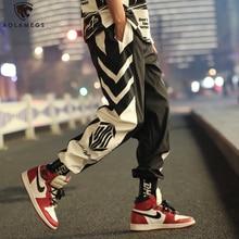 Aolamegs Pants Men Hit Color Cool Print Streetwear Hip Hop Casual Trousers Harajuku Joggers Men Pants Loose Fashion Sweatpants