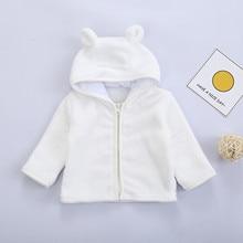 Newborn Infant Baby Boys Girls Long Sleeve Solid Fluffys Hooded Outwear Coat