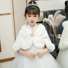 Taklit kürk şal şal ceket pelerin çaldı düğün akşam elbise için beyaz çiçek kız Bolero pelerin çocuk ceket kısa pelerin omuz silkme