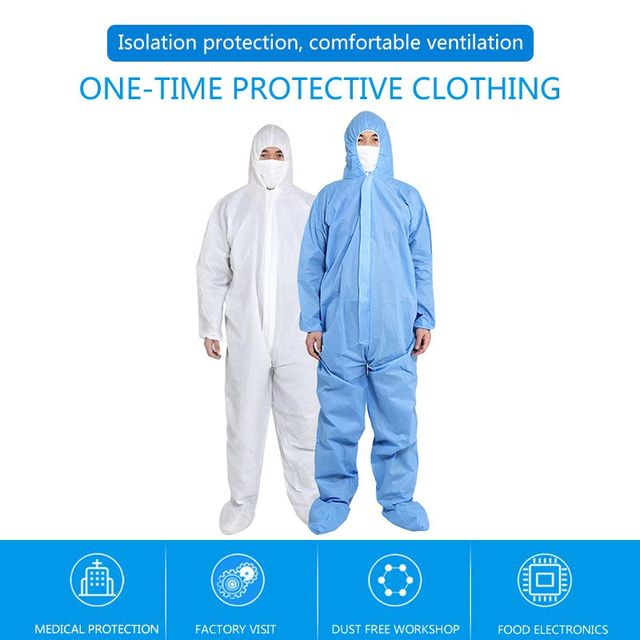 PPE Suit Disposable Full Body Protective Suit Antibacterial Closures Isolation Suit Protective Clothing Coveralls Waterproof 4