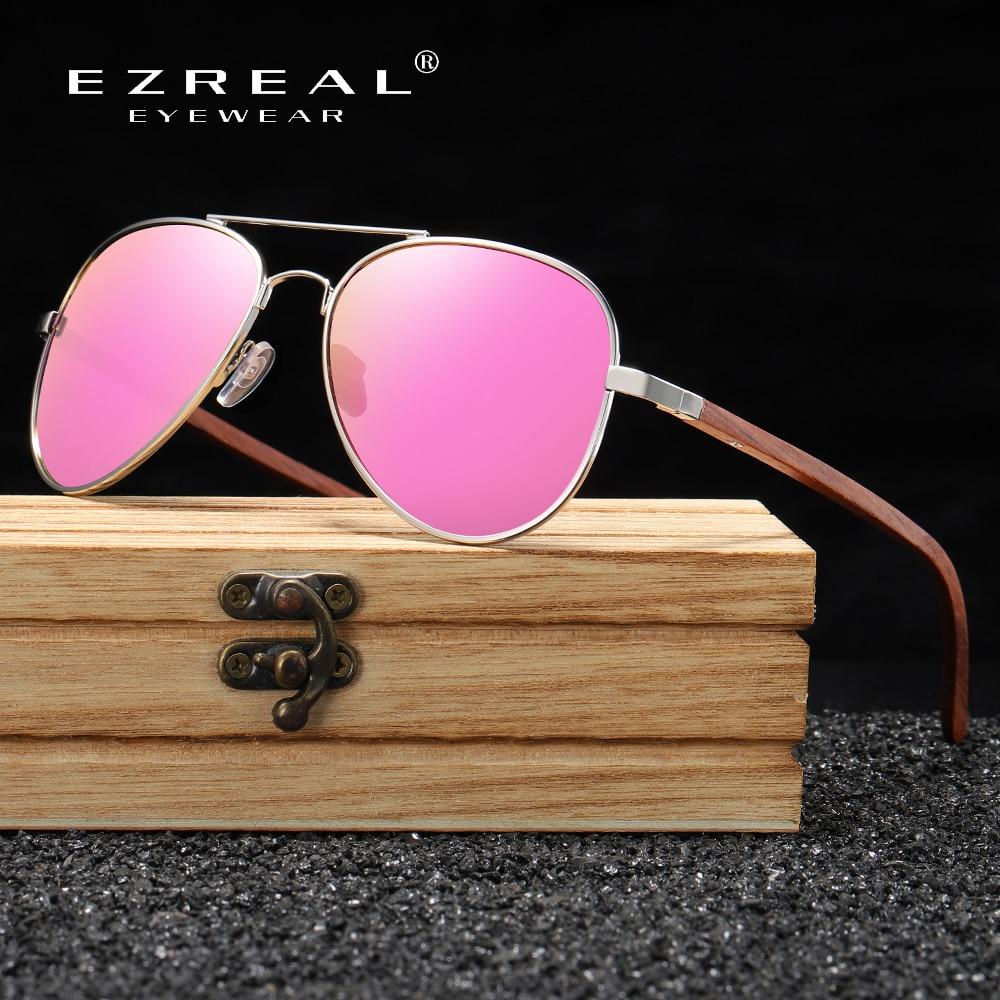 EZREAL Brand Designer Sun Glasses For Women Red Wood Leg With Metal Frame Sunglasses Men Women Wooden Sunglass S2801 4.5