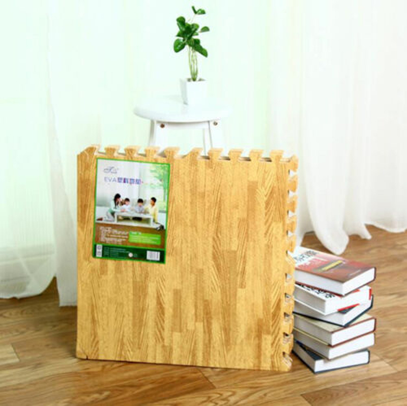 6 pcs set espuma eva esteira do jogo do bebe tapete crawling mat grao de madeira