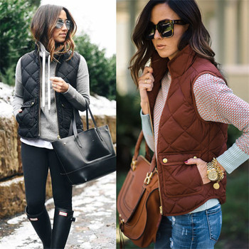 Hot Sale Women Winter Warm Zipper Sleeveless Vest Coat Jacket Outwear Thick Pocket Vest Cardigan Suit Vest Fall Autumn Waistcoat