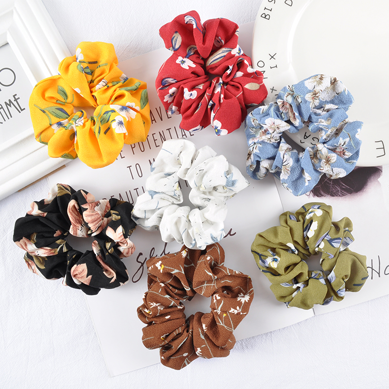 Ruoshui  Printed Floral Scrunchies Women Dot Hair Ties Boho Elastic Hairband Woman Hair Accessories Girls Ponytail Holders