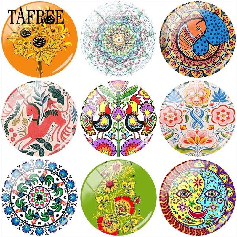 TAFREE Colorful Pattern 12mm/15mm/16mm/18mm/20mm/25mm Polish Folk Art Patterns Glass Cabochon Demo Flat Back Making Findings