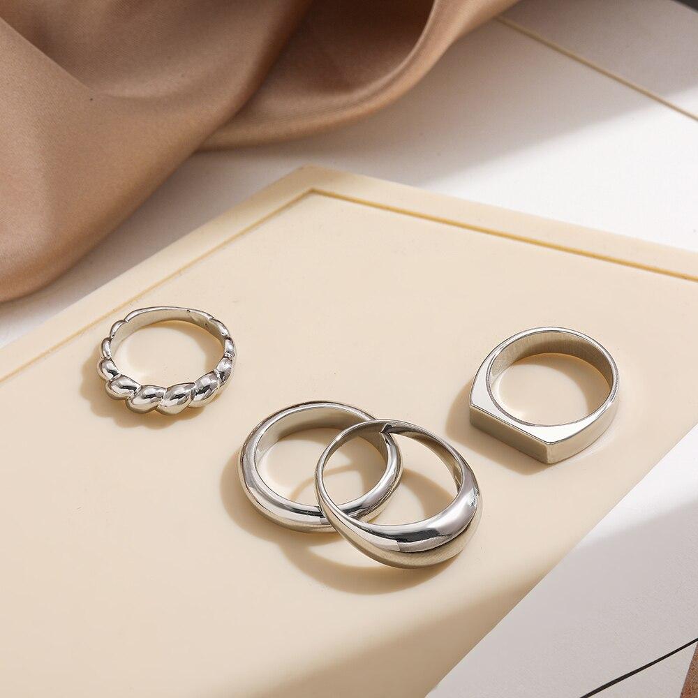 Серебряный Цвет геометрический дизайн, округлый, Круглый массивное кольцо для женщин модные серьги с вырезом для укладки кольцо женский ми...