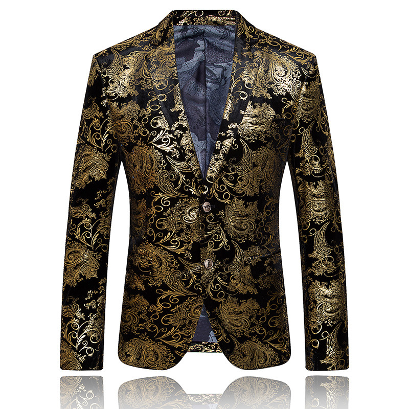 Perennial Do Goods Europe And America Luxury Gold Color Suit Gold Jacquard Formal Dress British-Style Large Size Slim Fit Suit