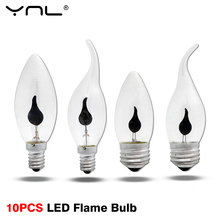 10pcs Vintage Led Candle Light Bulb Flame Lamp E27 E14 LED Fire Bulb Flickering Effect Home Decor Lampada Ampoule LED Retro Lamp