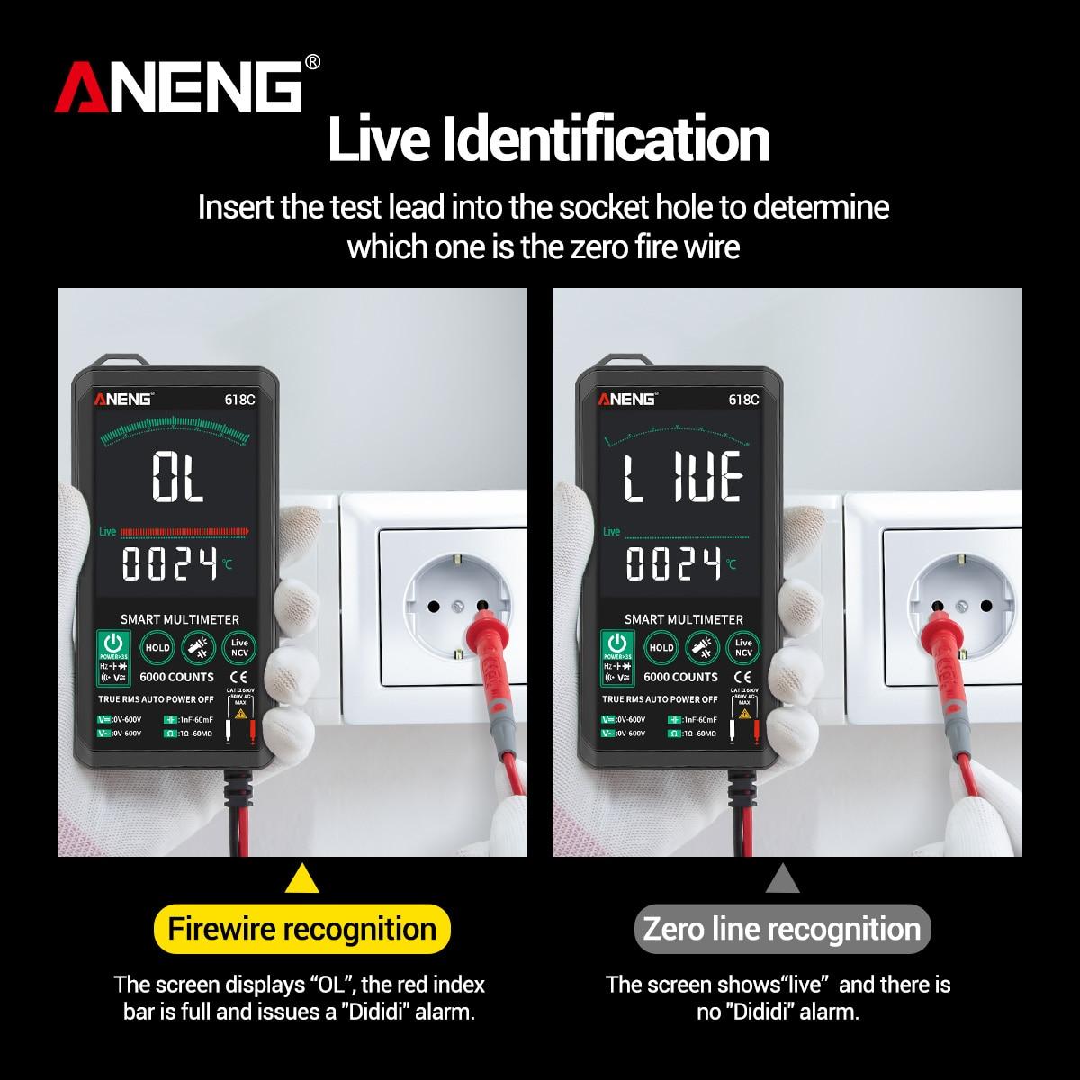 Audible Meter 618C Digital ANENG Multimeter Backlit Autoranging Capacitance True AC Tester DC Multimeter Continuity RMS Voltage
