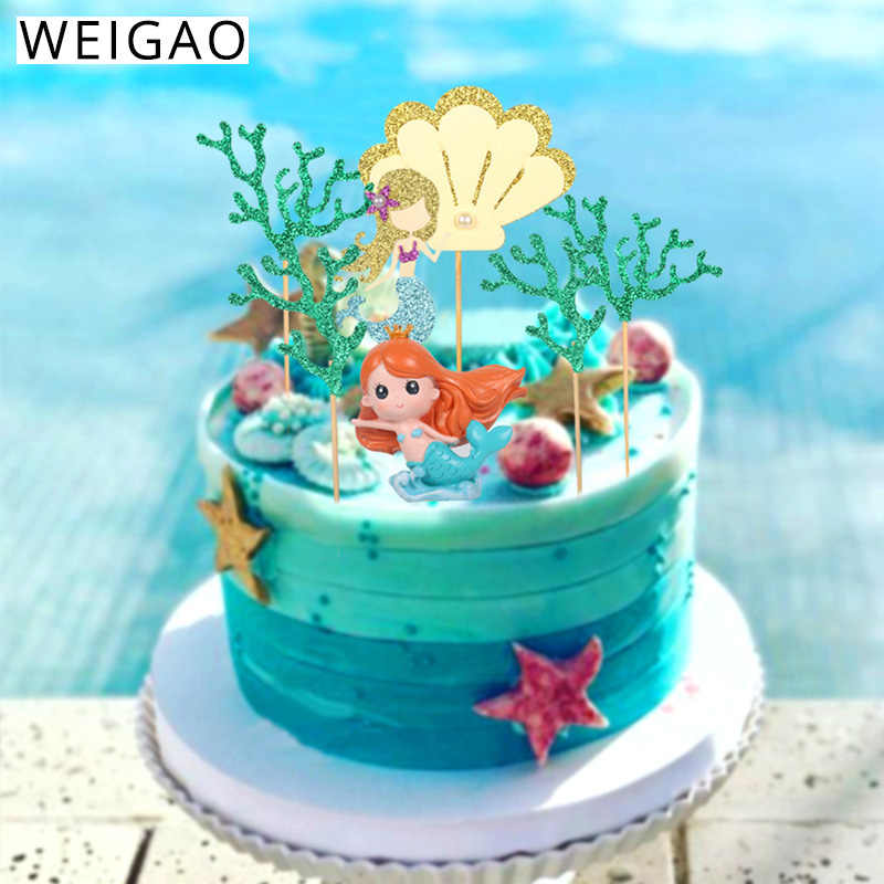 WEIGAO Little Mermaid Party Cake Toppers Happy Birthday Cake Topper  Birthday Party Decorations Kids Under The Sea Party Supplies