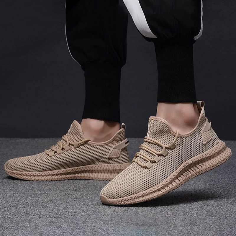 ใหม่ตาข่ายผู้ชายรองเท้าลำลอง-ขึ้นรองเท้าผู้ชายน้ำหนักเบาสบาย Breathable เดินรองเท้าผ้าใบ Tenis Feminino Zapatos