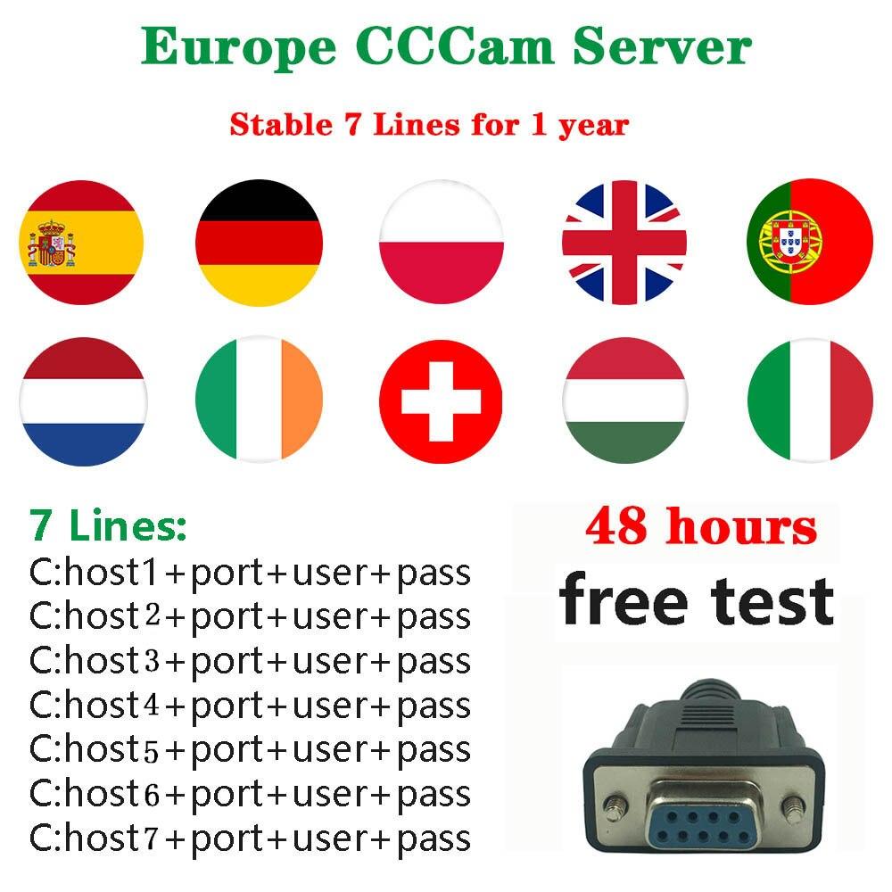 2019 Stable Europe CCCam cline serveur pour 7 ligne espagne Protugal pologne Italia Support DVB t2 DVB-S2 décodeur avec CCCam cline