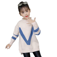Sweater for Girl Childrens Clothes Fashion Girls Letter V Design Pattern Long Sleeve Baby Knitted Pullover