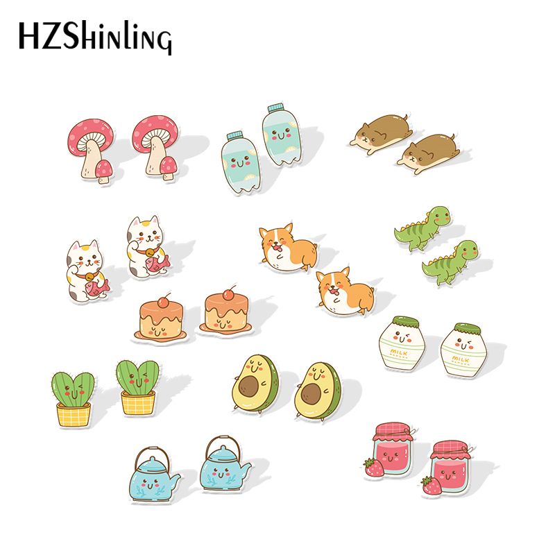 2019 New Kawaii Animals Acrylic Earring Silver Color Sweetie Resin Earring Cat Dog Dinosaur Epoxy Shrink Dinks Earrings