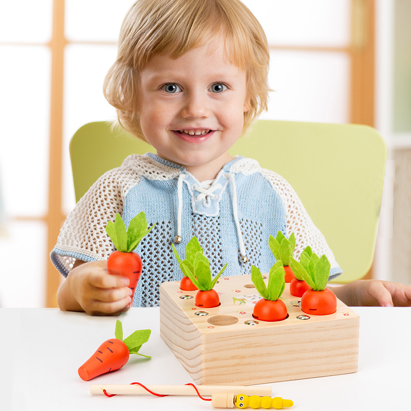 Children Wooden Picking Carrots Insects Game Kids Attention Training Toys Early Educational Desk Puzzle Toys Children' Day Gift