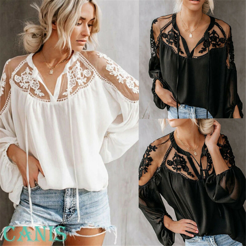 Goocheer 2019 New Women Solid Sexy Lace Hollow PlainT shirt Loose Tops Ladies Long Sleeve V Neck Top in T Shirts from Women 39 s Clothing