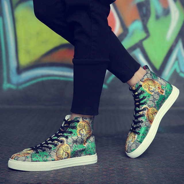 Tiger Print High Top Sneakers 8