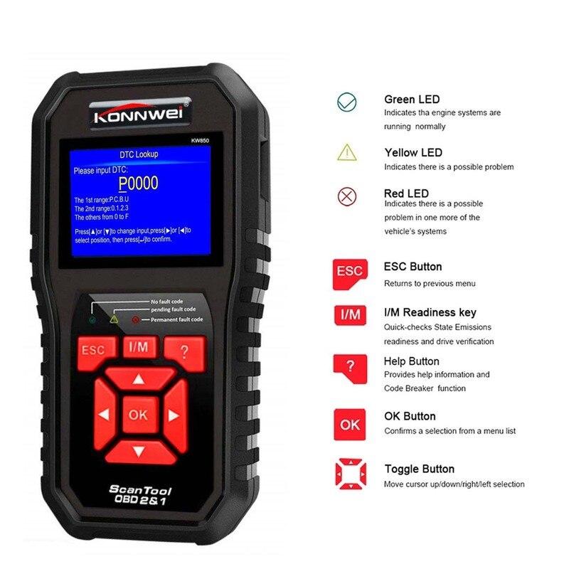 Newest KONNWEI  KW850 OBD2 Auto Car Diagnostic Scanner Tool Code Reader Scanning Machine