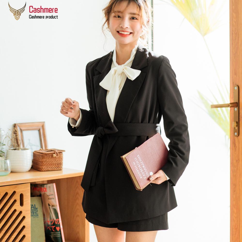 Women's coat Korean casual suit coat women 2020 spring autumn new mid-length coat women straight double-breasted black coat 7387