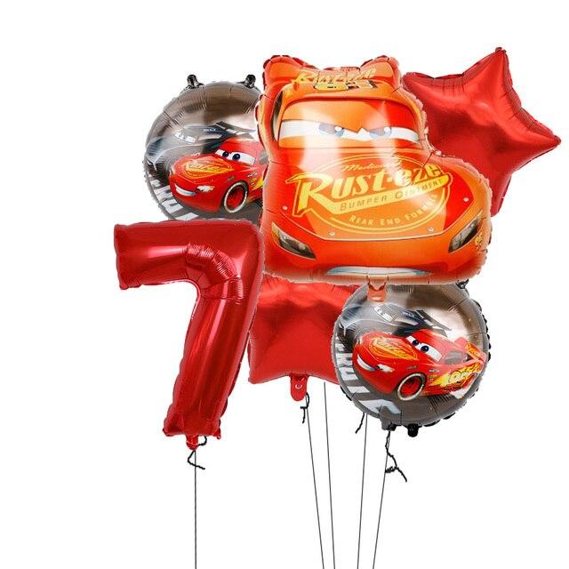 6 pièces McQueen anniversaire ballon 32 pouces numéro fête décoration fournitures 18 pouces rond Var feuille Ballons enfants jouets bébé douche