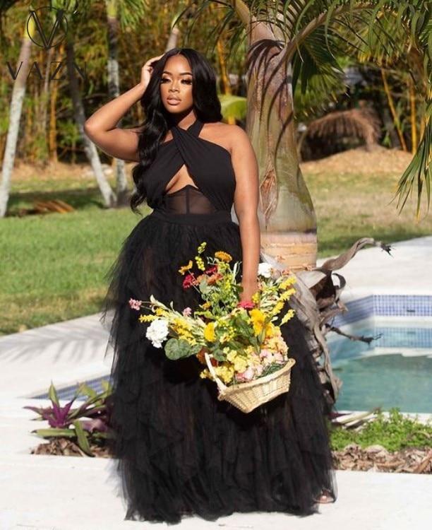 VAZN New 2021 Single Tulle Lace Women Elegant Fashion Maxi Dress Slim Dress Club Birthday Shinny Dress 7
