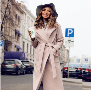 Hot Elegant Long Women's Coat Lapel 2 Pockets Belted Jackets Solid Color Coats Female Outerwear Single Breasted Coats flounce trim belted coat
