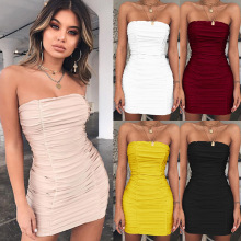 все цены на Sexy Backless Pleated Tube Dress Sleeveless Off Shoulder Bodycon Dress 2019 summer womens solid color sale bag hip tight Dresses онлайн