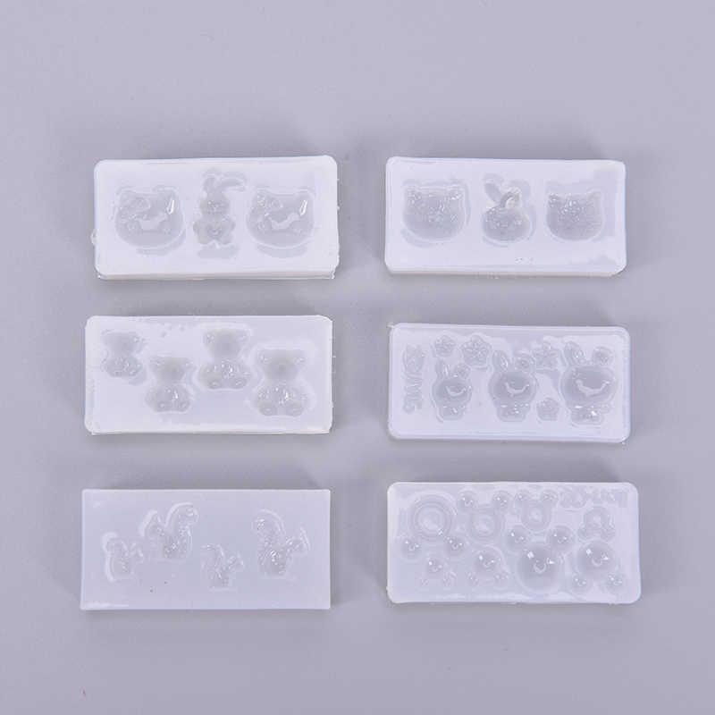 1 pc resina uv jóias de silicone líquido molde animal coelho urso coração resina molde para diy jóias prego arte molde