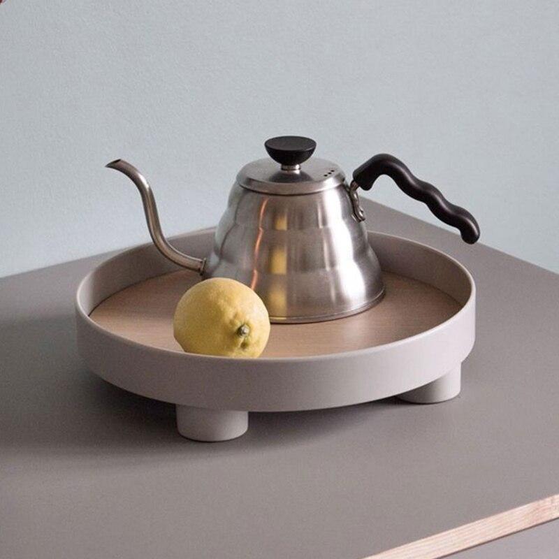Скандинавский круглый лоток для хранения, настольный органайзер для посуды, еды, косметики, разная тарелка, кухонный поднос для сервировки, украшение для дома-3