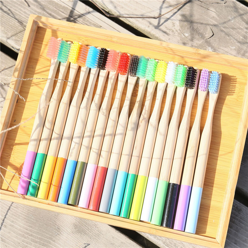 Bamboo Colorful Toothbrush For Adult Child Wooden Health Soft Fibre Wood Charcoal Wire ToothBrush Eco Friendly Oral Hygiene Tool