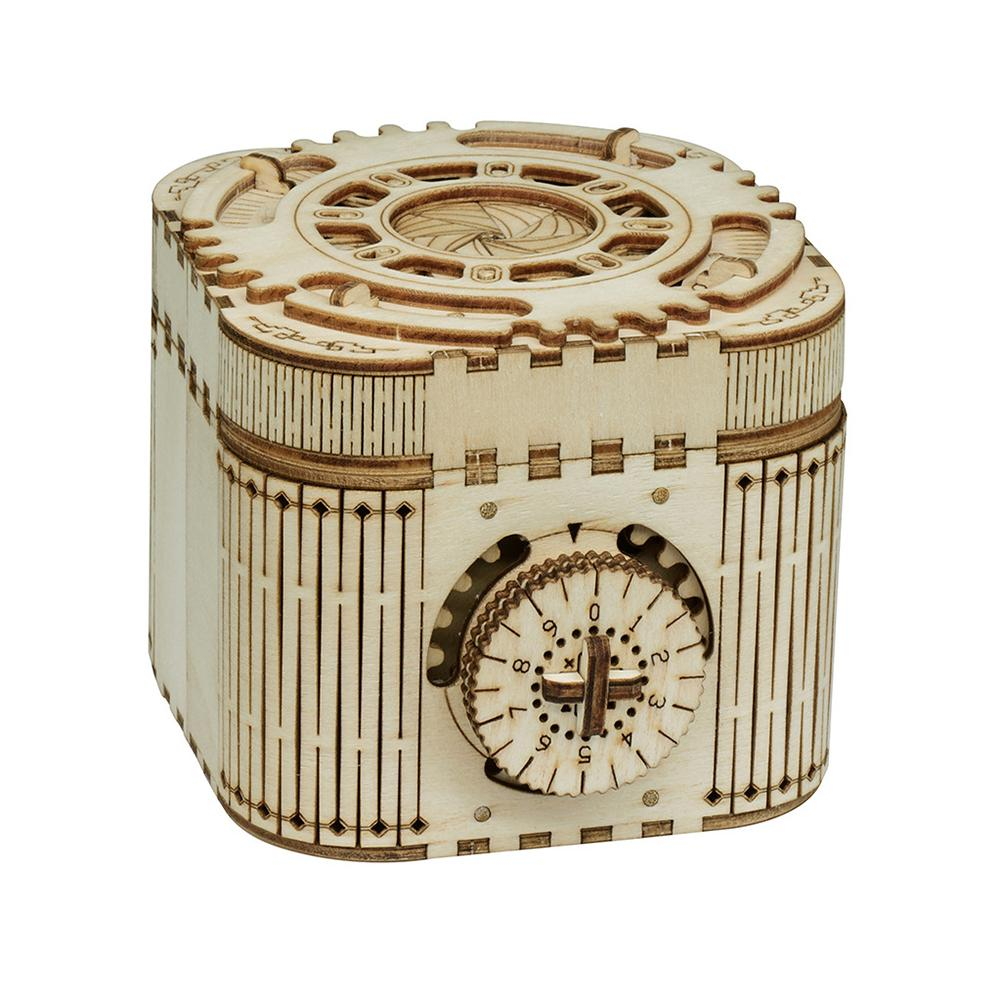 DIY Wooden Mechanical Music Box Password Assembly Puzzles Model Kit Kids Toy