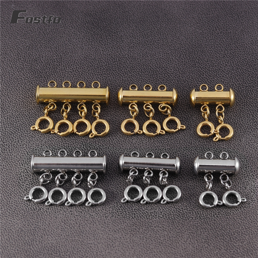 Slide Clasp Lock Necklace Connector Multi Strands Slide Tube Clasps for Jewelry Making Gldbird 6 Pieces Layered Necklace Spacer Clasps Gold